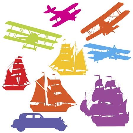 Siluetas de colores de los veh�culos de transporte antiguos Foto de archivo - 11278374