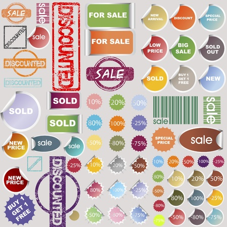 discounted: Sale stickers, rubber stamps and label collection Illustration