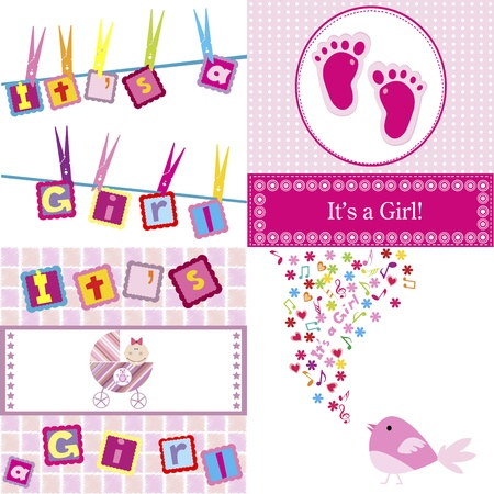 Set of four baby girl announcement cards Stock Vector - 11278380