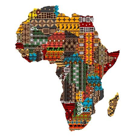 continente africano: África del mapa con los países han realizado de texturas étnicas Vectores