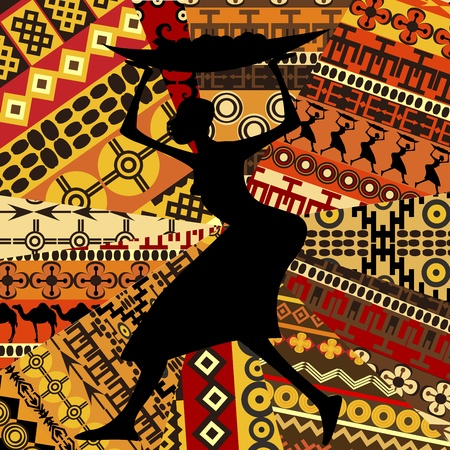 motifs: African woman on ethnic textures background Illustration