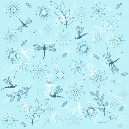 Background with blue dragonflies Vector