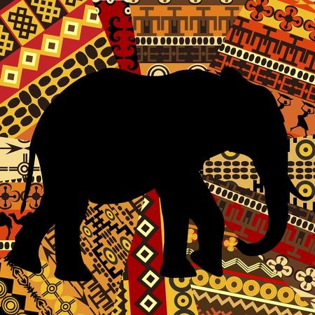 Olifant silhouet op etnische achtergrond textures Stock Illustratie