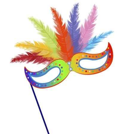 Coloré masque avec des plumes herbe mardi Illustration
