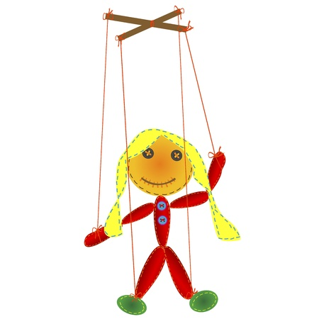 Handmade marionette, puppet on a string Vector