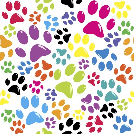 dog paw: Seamless pattern with colored paws Illustration