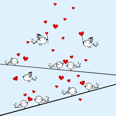 Valentine's Day background with birds and hearts Stock Vector - 11878411