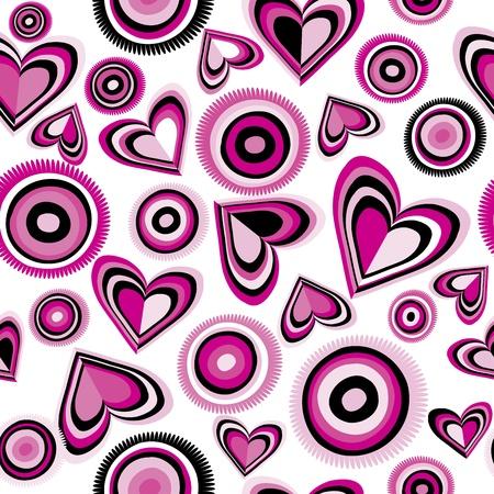 Fondo con corazones de color rosa y de los círculos