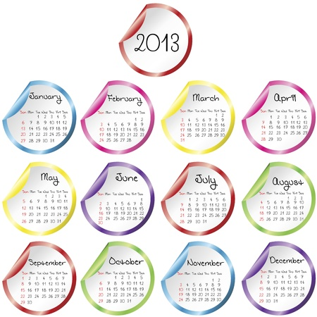 Calendar for 2013 with stickers Vector
