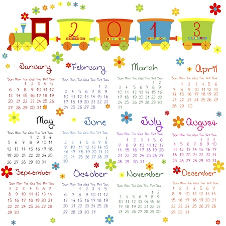 Doodle calendar for 2013 Vector