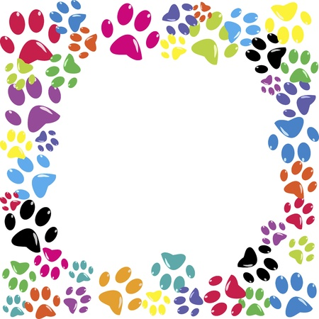 animal print background: Frame made of animal paws Illustration