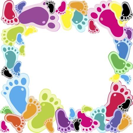 footstep: Frame made of foot steps