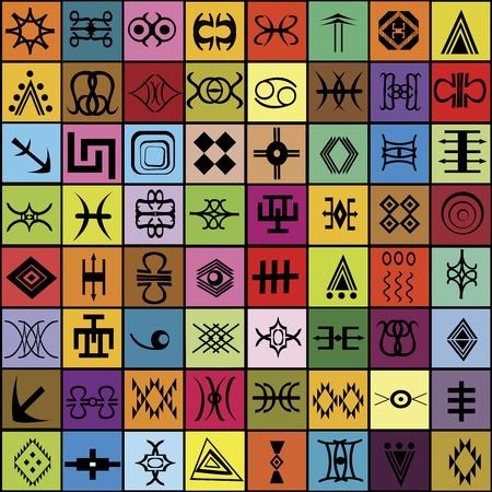 aborigen: Mosaico con diferentes elementos tradicionales