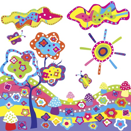 Funky background with colorful elements from nature Vector