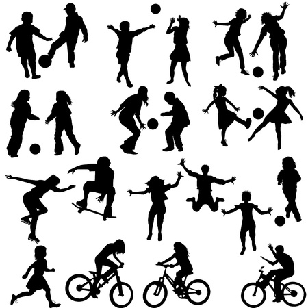 play: Group of active children, hand drawn silhouettes of kids playing