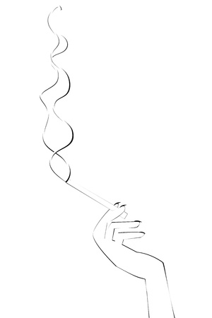 cigar smoking woman: Hand with cigarette and smoke Illustration