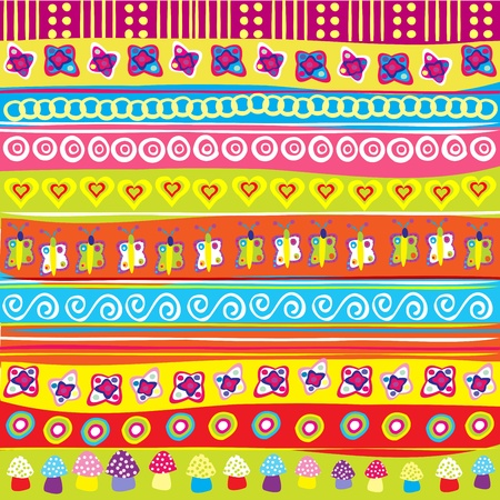whimsical pattern: Background with colored doodle elements