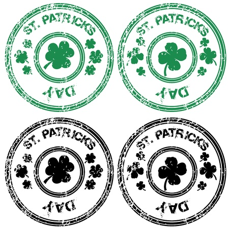 Black and green stamps for St. Patrick Vector