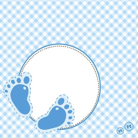 huella pie: Fondo azul con pasos de bebé