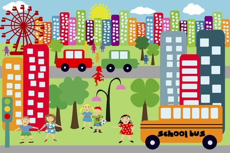Doodle city for children Vector