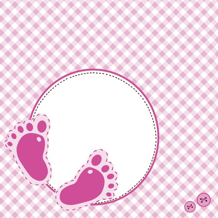 Pink background with baby footsteps Vector