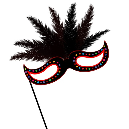 costume ball: Colored mardi Grass mask with feathers