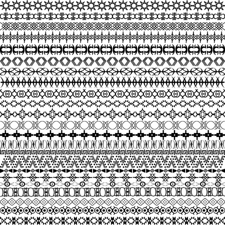 Set of borders, ethnic motifs background Vector