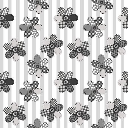 applique flower: Textile patchwork flowers background seamless pattern