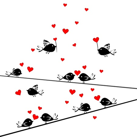 Valentine's Day card with birds in love Stock Vector - 12407462