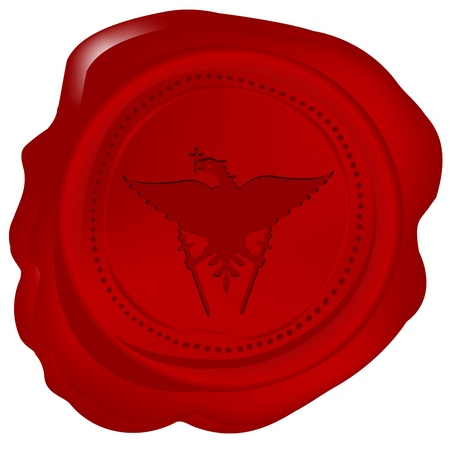 Wax seal with a heraldic element Vector