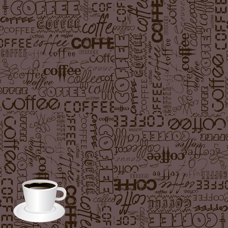 Background with coffee typography Vector