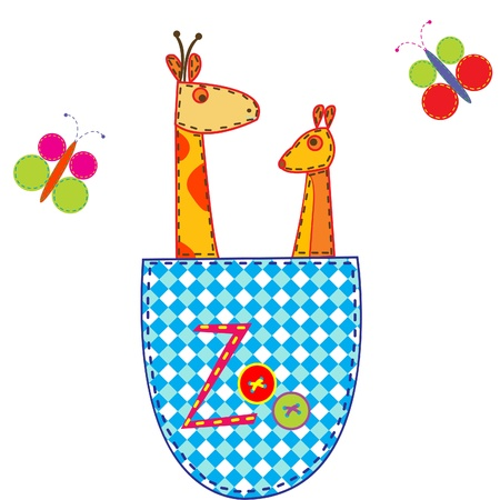 Zoo illustration with giraffe and kangaroo in a pocket Vector
