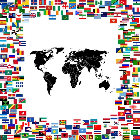 continent: World map framed with world flags