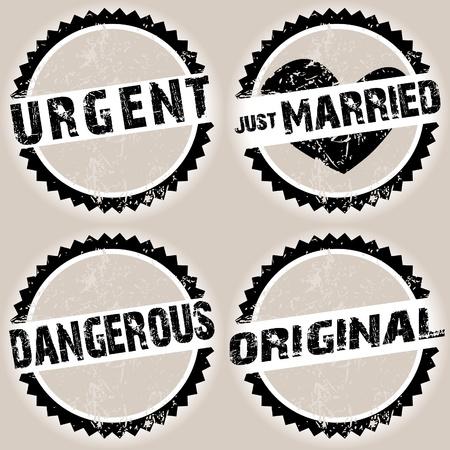 just married: Negro grunge sellos con textos aleatorios