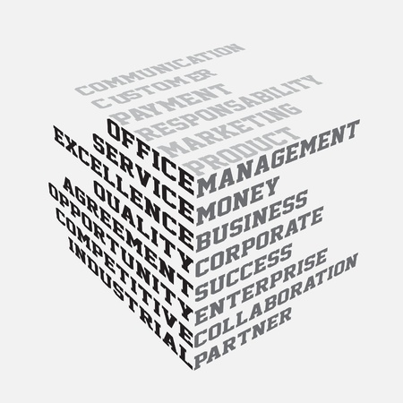 3d manager: Business terms typography