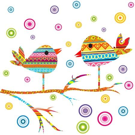 Card with cute birds Vector