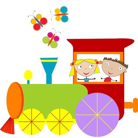 locomotora: Los niños de fondo con máquina de vapor