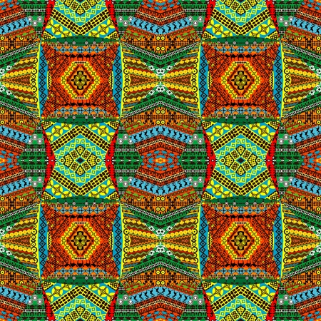 Collage made of African motifs, textile patchworks Vector