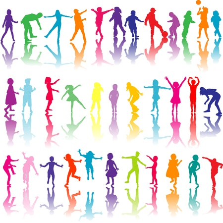 Set of colored children silhouettes playing