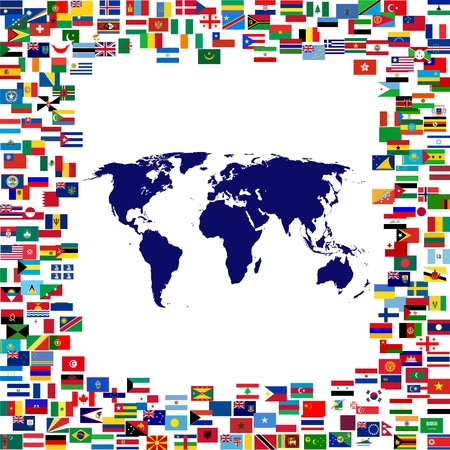 World map framed by world flags photo