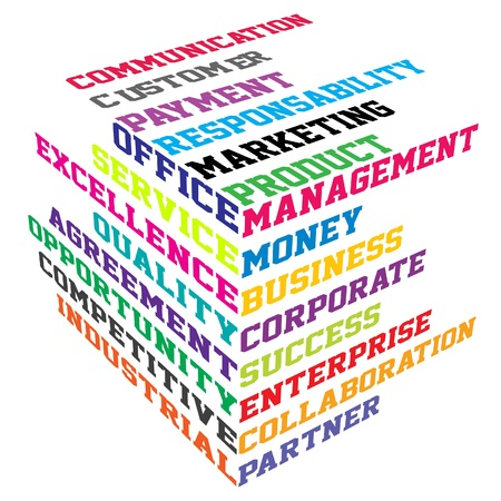 corporate image: Abstract colored cube with  business terms