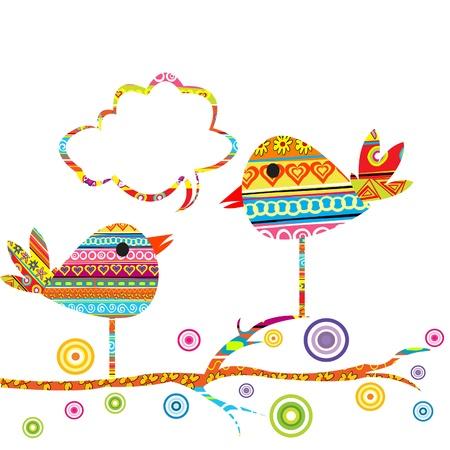 birdie: Scheda con uccelli carino seduto su un albero e chat