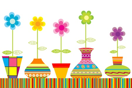 Colored flowerpots set Illustration