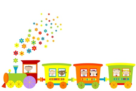 Train with happy children Vector