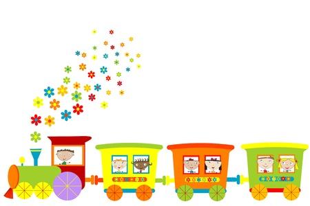 children: Train with happy children Illustration