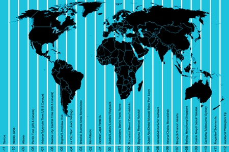 time zone: World map and time zones Illustration