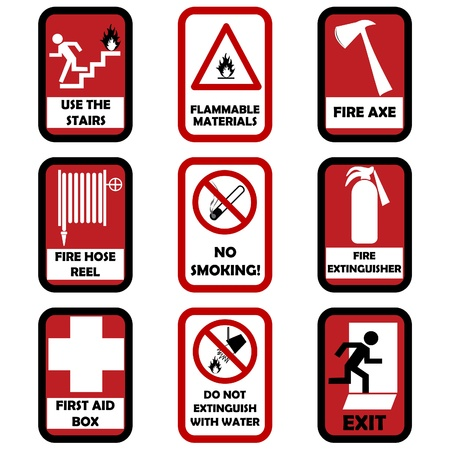 firefighting: Fire caution signs Illustration