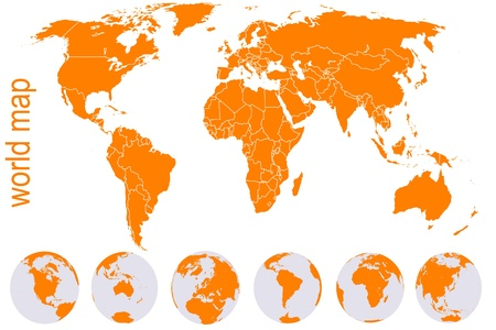 world map with countries: Orange detailed world map with Earth globes Illustration