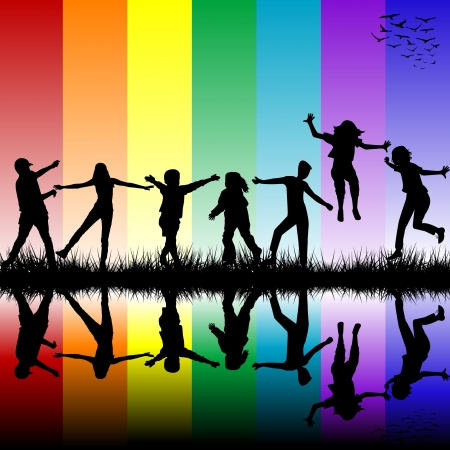 Children silhouettes over rainbow background Illustration