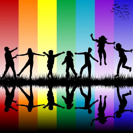 Children silhouettes over rainbow background Illustration
